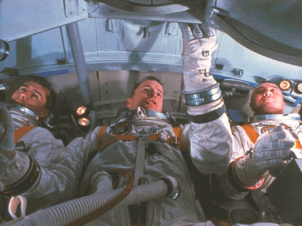 Apollo 1 astronauts Roger B. Chaffee, Edward H. White, and Virgil I. Grissom. Photo courtesy of NASA.