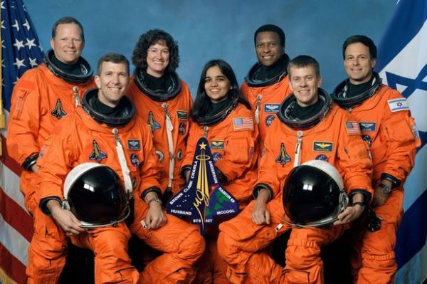 Columbia astronauts  Rick Husband, David Brown, Laurel Clark, Kalpana Chawla, Michael Anderson, William McCool, and Ilan Ramon. Photo courtesy of NASA.